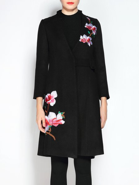 V Neck Vintage Floral-embroidered Coat
