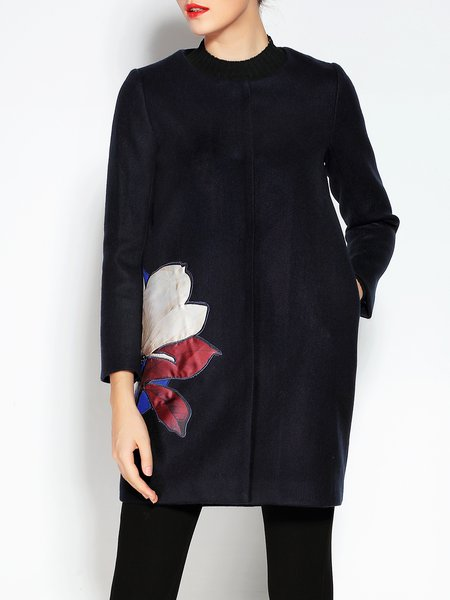 Long Sleeve Floral Appliqued Vintage Coat
