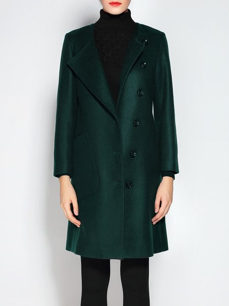 Green Long Sleeve Buttoned Solid H-line Coat