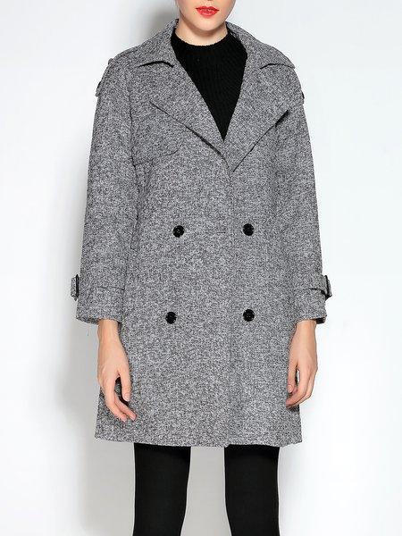 Gray Elegant H-line Buttoned Lapel Coat