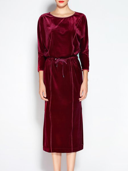 Slit Shirred H-line 3/4 Sleeve Velvet Midi Dress