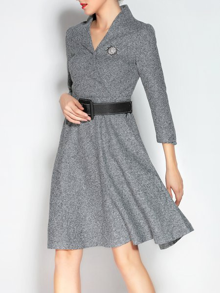 A-line Casual Wool Blend V Neck 3/4 Sleeve Midi Dress