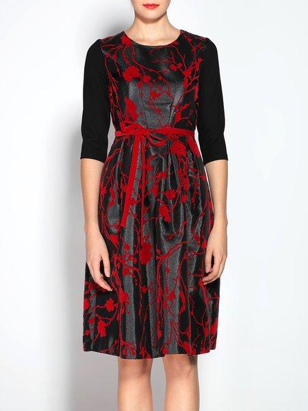 Black Velvet Crew Neck Half Sleeve Floral Midi Dress