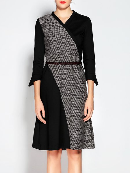 A-line V Neck Geometric Color Block 3/4 Sleeve Midi Dress