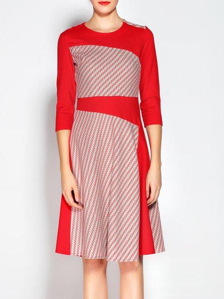 Printed 3/4 Sleeve Color-block Midi Dress