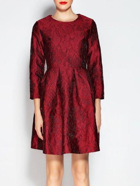 3/4 Sleeve Jacquard A-line Midi Dress