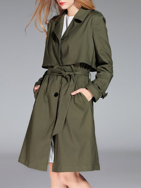 Army Green Long Sleeve Lapel Buttoned Coat