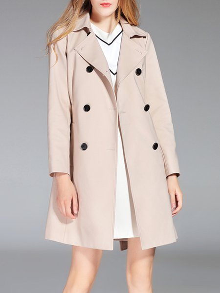 Beige Long Sleeve Lapel Buttoned Cotton-blend Trench Coat