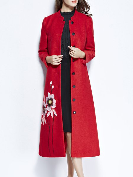 Red Floral Wool Blend Buttoned Elegant Coat