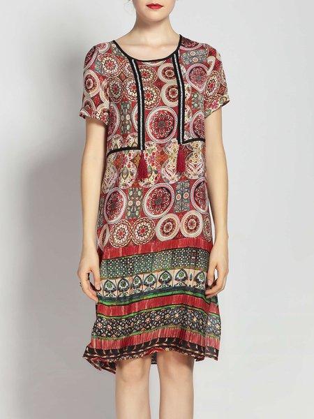 Crew Neck Printed A-line Shorts Sleeve Silk Boho Dress