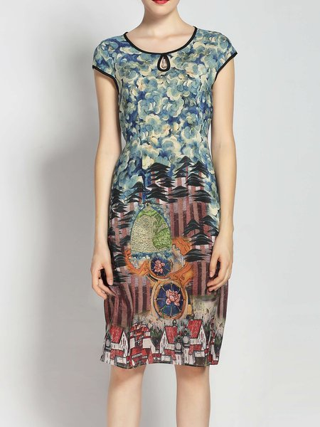Printed Crew Neck Short Sleeve Casual Floral Midi Dress