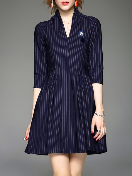 Navy Blue Elegant Stripes A-line Mini Dress With Brooch