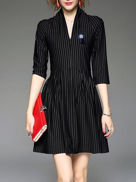 Black 3/4 Sleeve A-line Stripes Mini Dress With Brooch