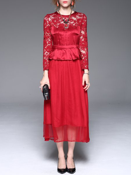 Red Crew Neck Silk Lace Paneled Elegant Swing Maxi Dress