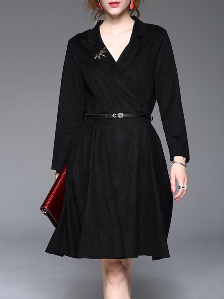 Black Elegant Buttoned Lapel A-line Midi Dress With Belt