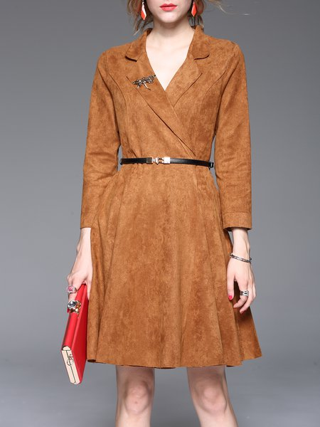 Lapel A-line Long Sleeve Elegant Midi Dress With Belt