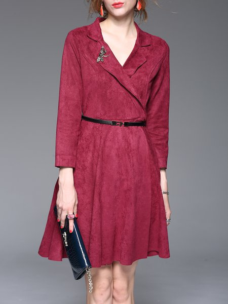 Crimson Lapel Elegant Solid Midi Dress With Belt