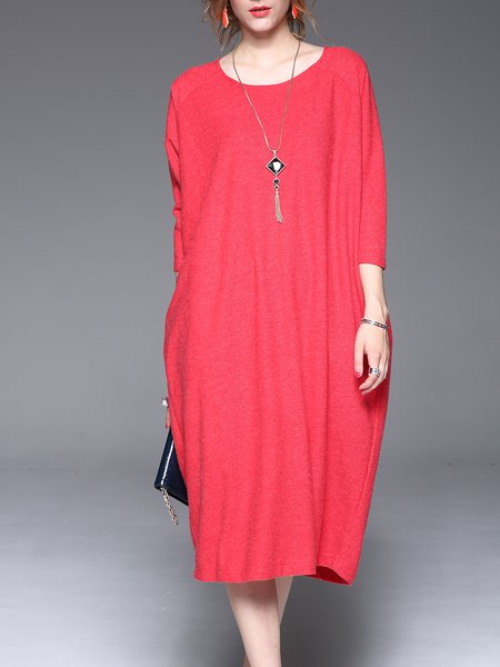 Red Casual Solid Crew Neck Midi Dress
