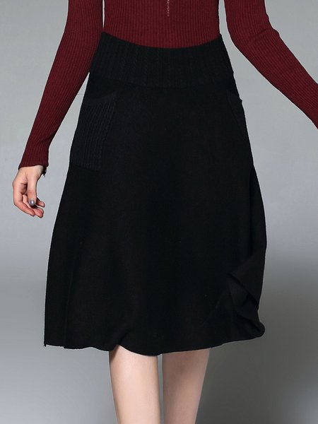 Knitted Solid Casual Wool Blend Midi Skirt