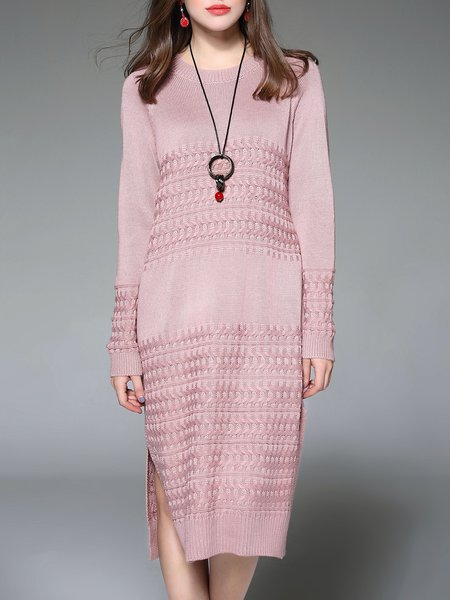 Knitted H-line Casual Long Sleeve Wool blend Midi Dress