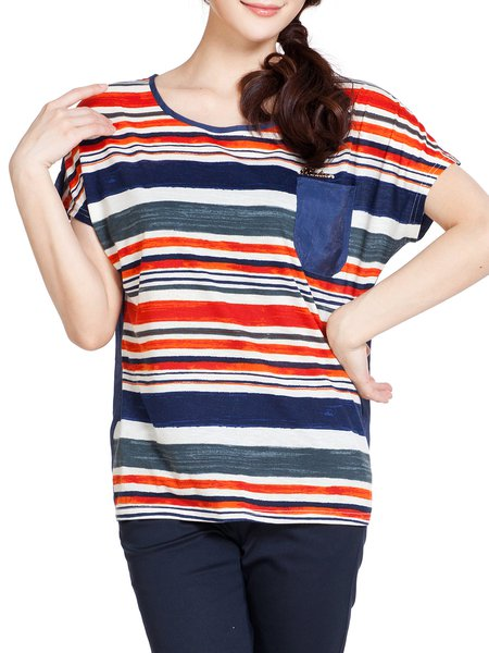 Navy Blue Stripes Casual H-line T-Shirt