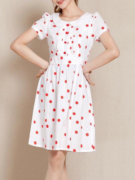 Polka Dots Peter Pan Collar Short Sleeve A-line Girly Midi Dress