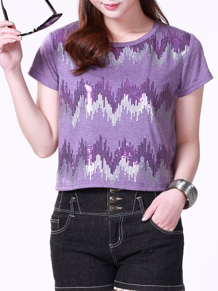 Casual Glitter-finished Short Sleeve H-line Cropped Top