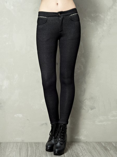 Black Beaded Plain Casual Legging