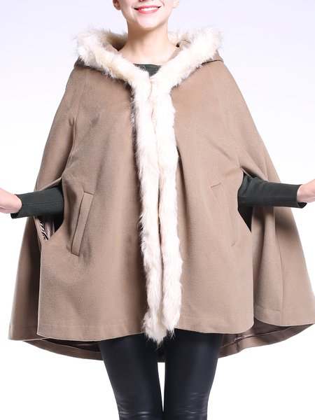 Khaki Casual Solid Hoodie Poncho And Cape