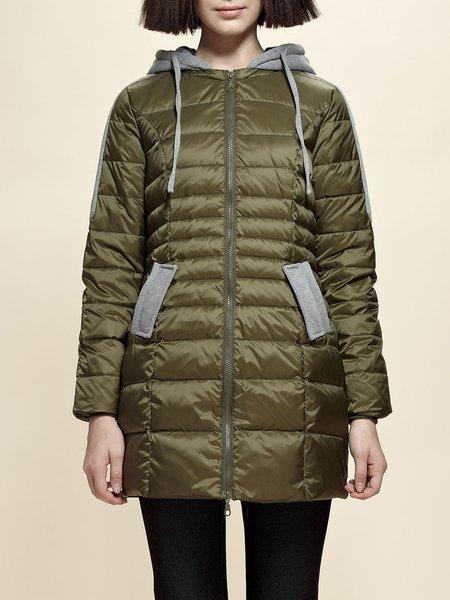 Color-block Long Sleeve Hoodie Down Coat