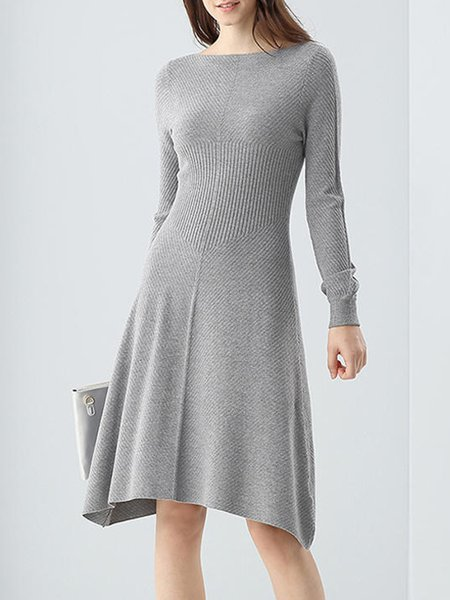 Gray Plain Casual Modal Midi Dress