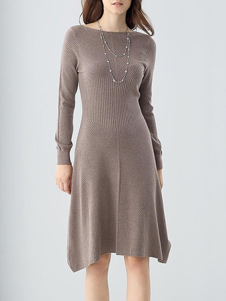 Coffee Plain Knitted A-line Casual Midi Dress