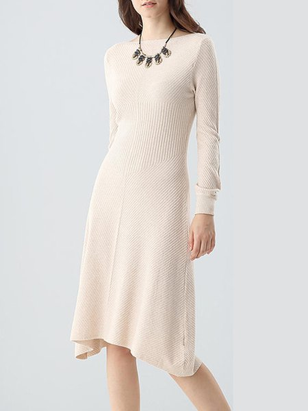 Apricot Knitted Plain Long Sleeve Midi Dress