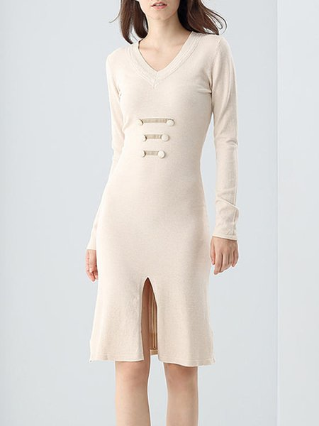 Apricot Long Sleeve Midi Sweater Dress