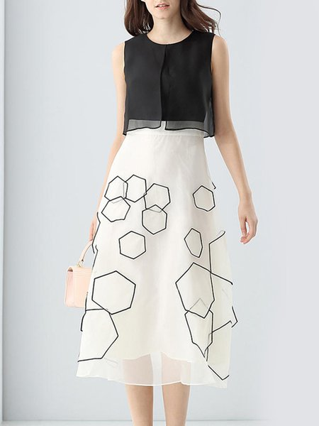 White A-line Paneled Geometric Midi Dress