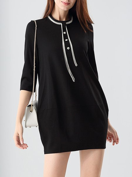 Black Long Sleeve H-line Crew Neck Plain Hidden Pockets Mini Dress