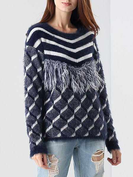 Dark Blue Crew Neck Casual Fringed Knitted Sweater