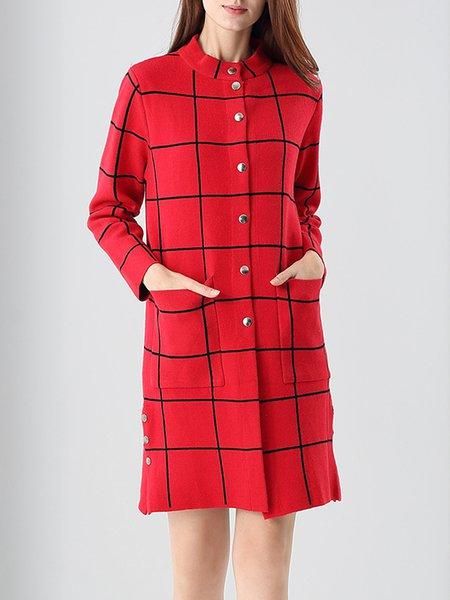 Cotton-blend Pockets Simple Long Sleeve Coat