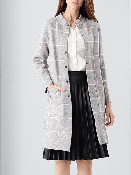 Long Sleeve H-line Simple Printed Front Pockets Coat