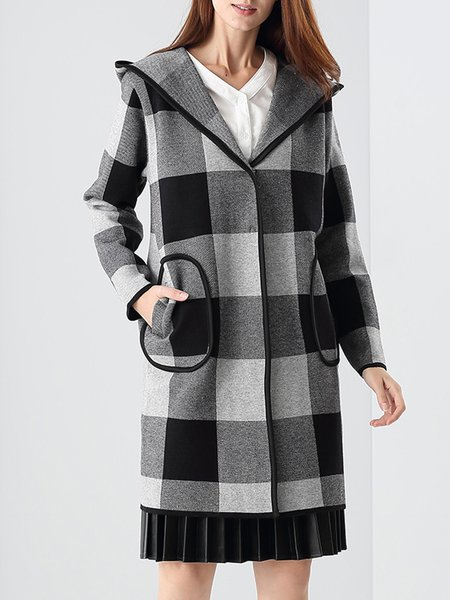 Pockets Long Sleeve Cotton-blend Hoodie Checkered/Plaid Coat
