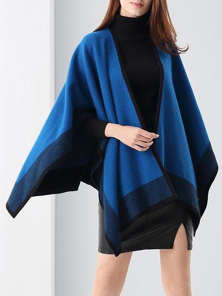 Simple Asymmetric Wool Blend Poncho