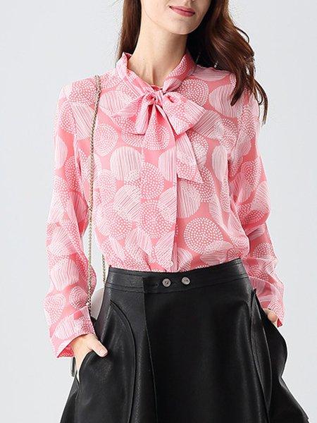 Pink Vintage H-line Floral-print Silk Blouse