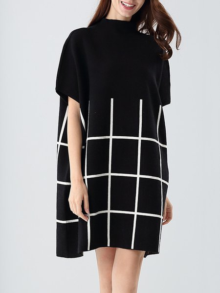 Batwing Crew Neck Casual Knitted Checkered/Plaid Sweater Dress