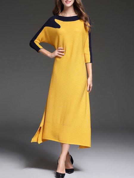 Slit Color-block 3/4 Sleeve Midi Dress