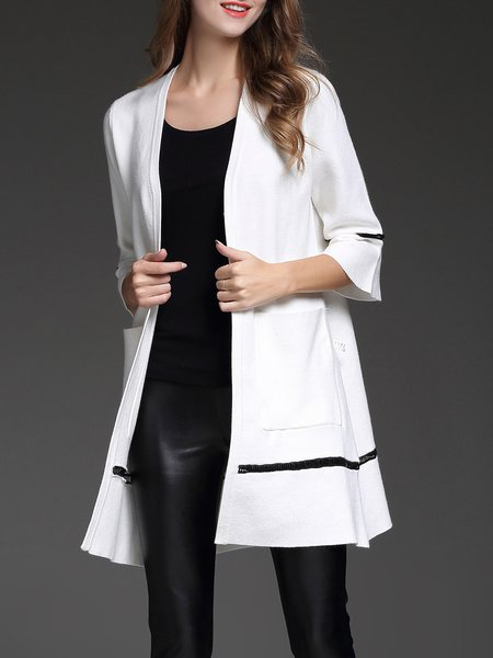 White Bell Sleeve Pierced Shift Coat