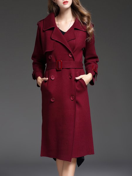 Wine Red Buttoned Elegant Long Sleeve Trench Coat