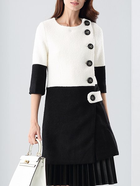 Long Sleeve Buttoned Color-block Mini Dress