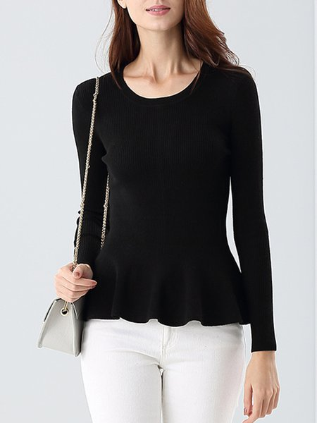 Long Sleeve Wool Blend Elegant Sweater