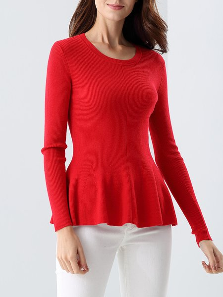 Elegant Ruffled Wool Blend Plain Sweater