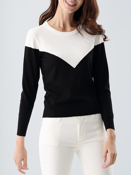 Knitted Casual Long Sleeve Color-block Sweater